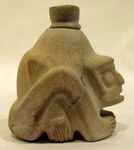 4642 - Chavin Stone Container with Stopper, Seated Male Figure